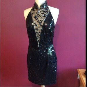 Niteline By Della Ruffogali Black Sequined Dress